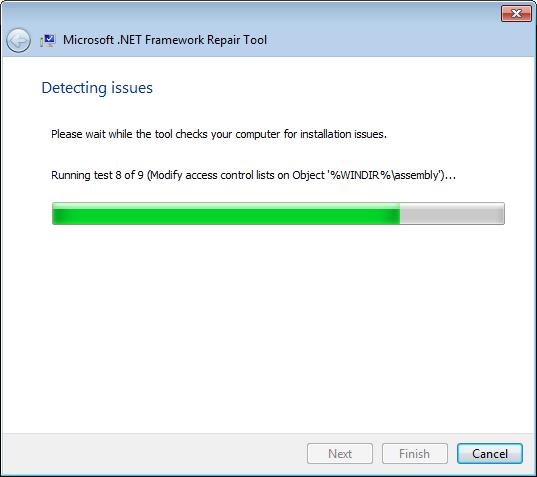 Процесс диагностики проблемы программой Microsoft .NET Framework Repair Tool