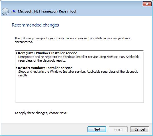 Шаг мастера Microsoft .NET Framework Repair Tool со списком рекомендуемых изменений