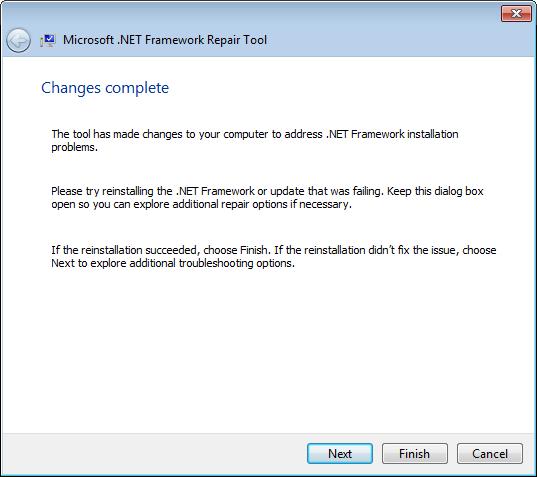 Шаг мастера Microsoft .NET Framework Repair Tool после внесения рекомендуемых изменений