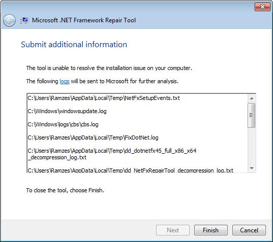Шаг мастера Microsoft .NET Framework Repair Tool со списком логов, отправляемых в Microsoft